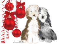 No. 18-4 Christmas card-white background  Available for purchase as card or painting or other items.  I can draw your DOG for you too!  brown and black Beardies on a white card with red ribbon and ornaments!
