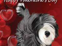 No. 43-12 Happy Valentine's Day-words  Available for purchase as card or other items.  I can draw your DOG for you too!  Valentine's Day card.  Words can be changed or removed, if you would like!