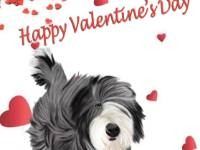 No. 43-16 Happy Valentine's Day-words  Available for purchase as card or other items.  I can draw your DOG for you too!  Valentine's Day card.  Words can be changed or removed, if you would like!