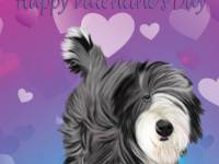 No. 43-7 Happy Valentine's Day-vertical-words  Available for purchase as card or other items.  I can draw your DOG for you too!  Valentine's Day card.  We can change the wording or remove it, if  you would like!