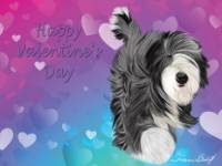 No. 43-8 Happy Valentine's Day-horizontal-words  Available for purchase as card or other items.  I can draw your DOG for you too!  Valentine's Day card.  Wording can be changed or removed if you would like!