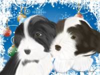 No. 9 christmas card-black and brown puppy-blue background  black and brown Beardie pups on a Christmas theme!  Available for purchase as card or other items.  I can draw your DOG for you too!